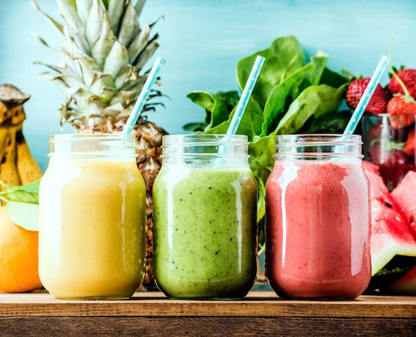 yellow green red smoothies